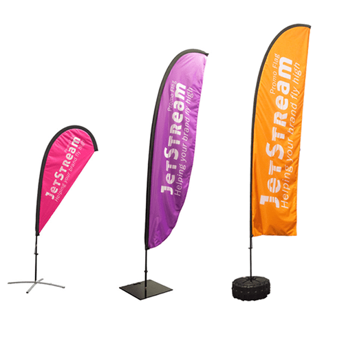 "<p align=""left""> Promotional flags are the ultimate striking display that will make your organisation unmissable outdoors. At Display Wizard we only use the highest-quality print materials to ensure your display will not only be attractive, but long-lasting as well. <br><br> These event flags are ideal for outdoor shows, sporting events or even as a permanent attraction; they come in a wide range of shapes including teardrop, sail and square-top. <strong>Their bold and stylish design means they will give your company heightened visibility and appeal.</strong> <br><br> Whilst flag banners are ideally suited for Summer events such as festivals, country shows and even outdoor trade shows, they are also a weatherproof form of advertising which can withstand the tougher winter months outdoors."